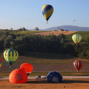 Hot air balloons fly during a hot air ballooning event in Todi
